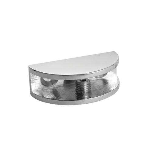 Half Rounded Shelf Clamp Brushed Nickel