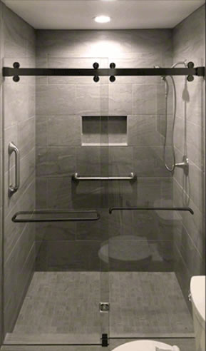 Frameless Cambridge Matt Black Bypass Shower Door Hardware Finish