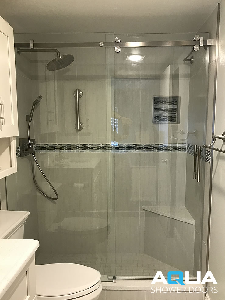 3 8 Frameless Glass Shower Door Barn Style Aqua Shower Doors