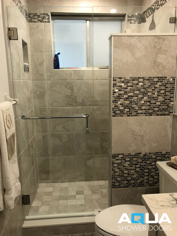 Frameless Shower Door with Inline Notched Panel