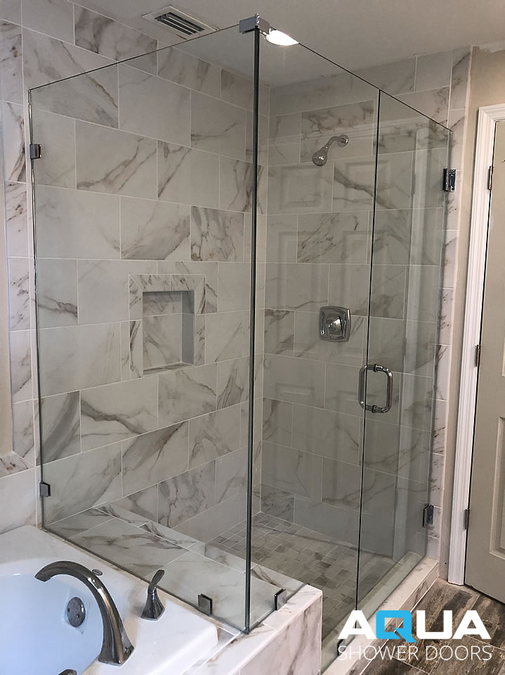 Frameless Glass to Wall Inline Shower Door with Notched Panel