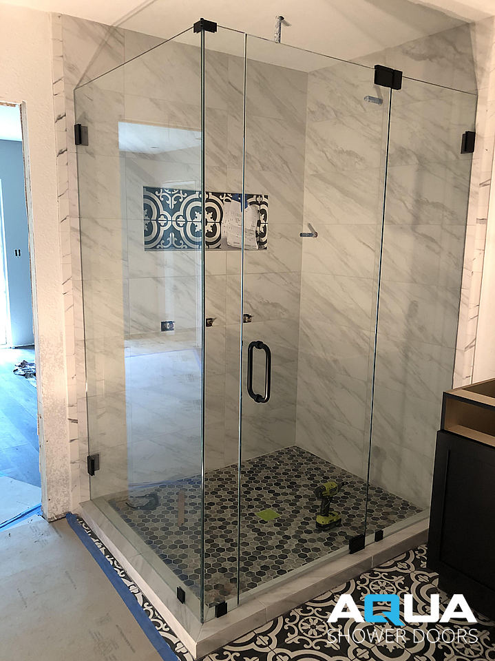 Frameless Right Angle Glass Shower Door Sarasota